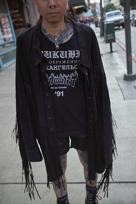 Faith Connexion Western Leather Fringe Shirt Jacket
