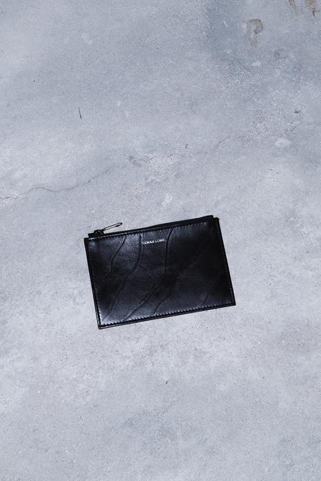 XENAB LONE 'ZEBRATO' CALFSKIN COIN POUCH - BLACK