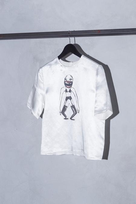 CLAIRE BARROW SILK PRINT TOP - OFF WHITE/CREAM