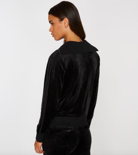 Pam & Gela Track Jacket with Tonal Racing Stripe - Black