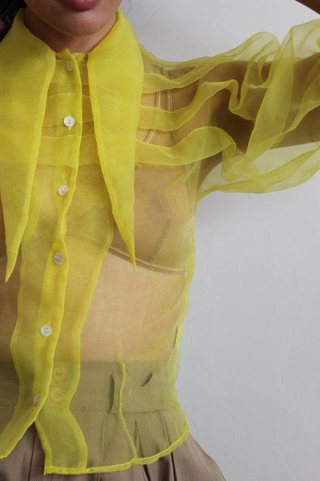 hannah kristina metz bathsheba blouse - chartreuse