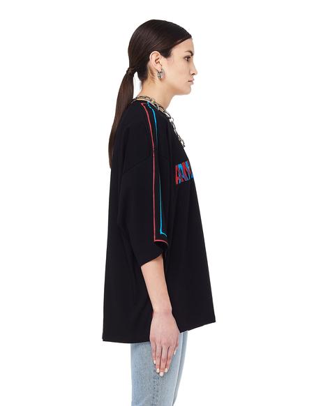 Unisex Doublet Anaglyph Print Cotton T-Shirt - Black