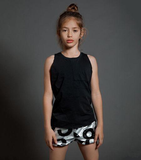 Kids Nununu Numbered Nylon Yoga Shorts - Silver