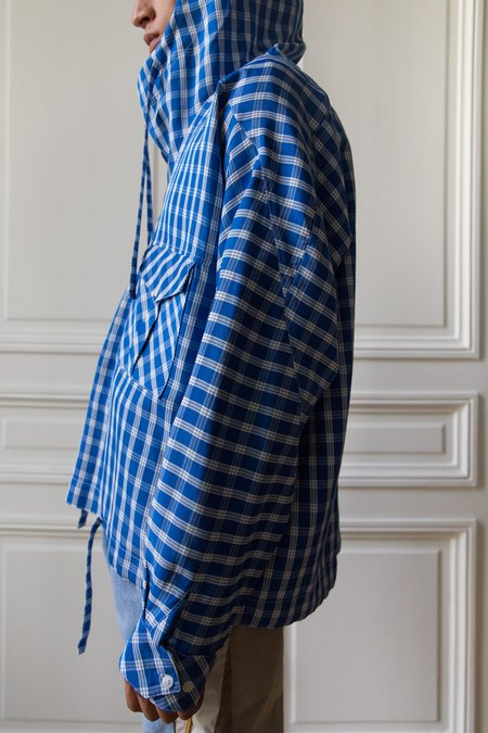 Martine Rose Bright Check Hooded Shirt