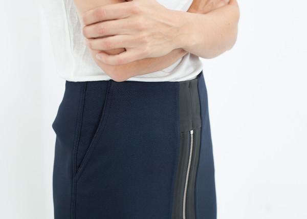 Hache Contrast Zipper Skirt