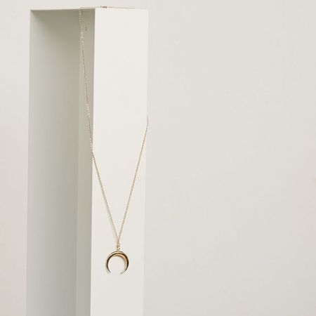 The Thorny Roses Embroidered Crescent Moon Necklace - 14K Gold