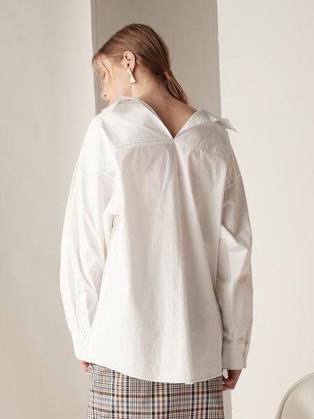 BEMUSEMANSION Stitch Boxy Shirt - White