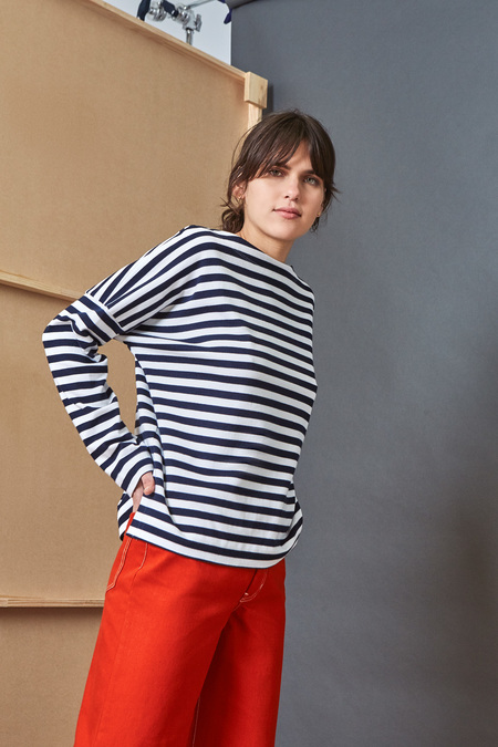 Kowtow Building Block Breton Sweater in Navy White Stripe