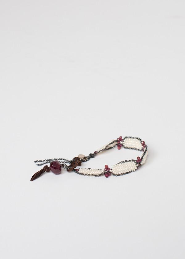 Kalosoma Jewelry Garnet Bracelet in Frothy Pearl