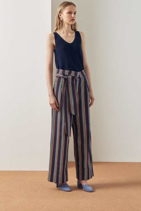Kowtow Fold Over Pant in Stripe