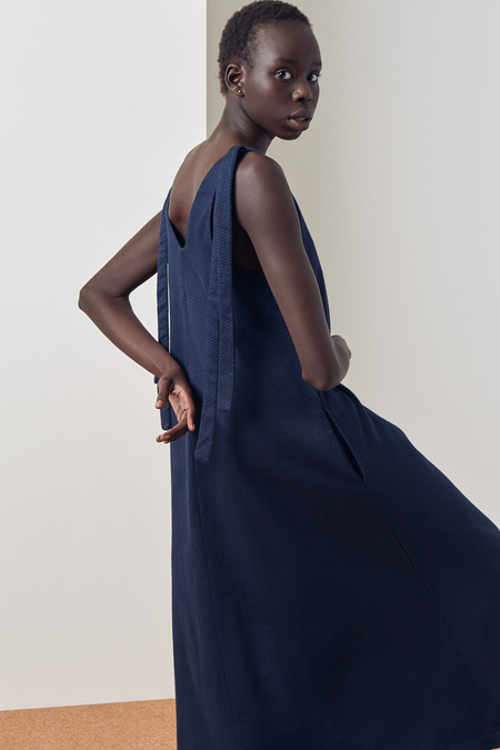 Kowtow Knotted Tie Dress in Navy