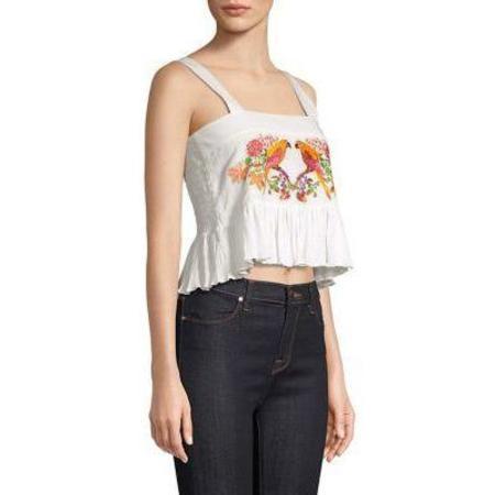 Carolina K Layla Top - Parrot Embroidery White
