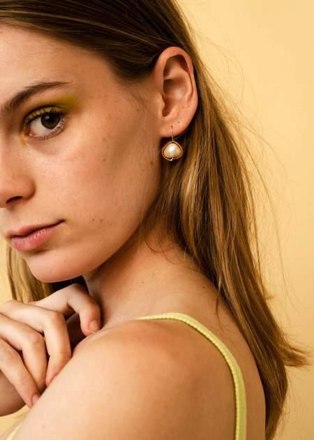Zelda Murray Pearl Earrings - Orange Satin