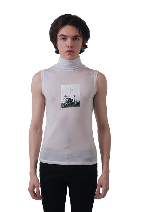 Christian Dada Nobuyoshi Araki Print Sheer Jersey Tank - Off White
