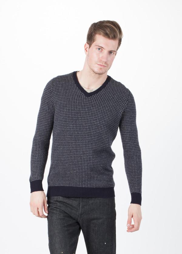 Men's Avant Toi Houndstooth V-Neck Sweater