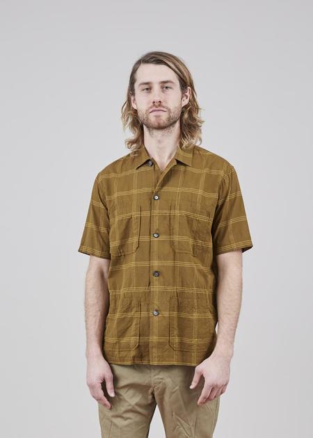 Sage de Cret Four Pocket Cotton and Silk Shirt - Dark Khaki Plaid