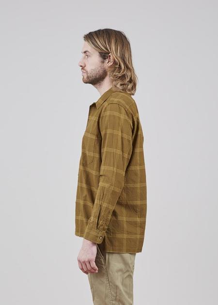 Sage de Cret Long Sleeve Cotton and Silk Shirt - Dark Khaki Plaid