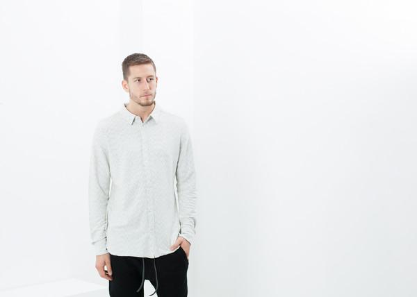 Men's V:Room Kasuri Jersey Button-Up in Ivory/Black
