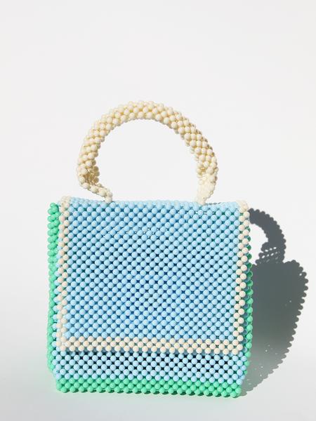 LISA FOLAWIYO Plain Top Handle Bag - blue/white/green