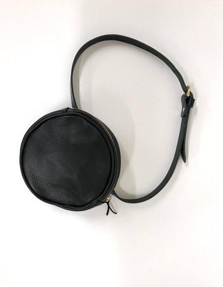 maad goods Round leather belt bag - Black