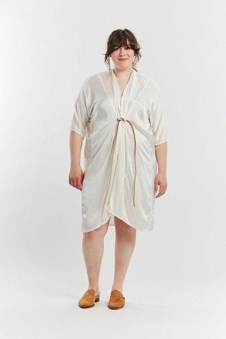 Miranda Bennett Silk Charmeuse O'Keeffe Dress - White
