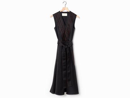 Cedric Charlier Striped Midi Dress - Black