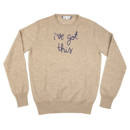Lingua Franca I've Got This Embroidered Sweater - Oatmeal
