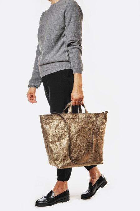 Zilla Metallic Fumo Leather Cross Body Shopper - Bronze