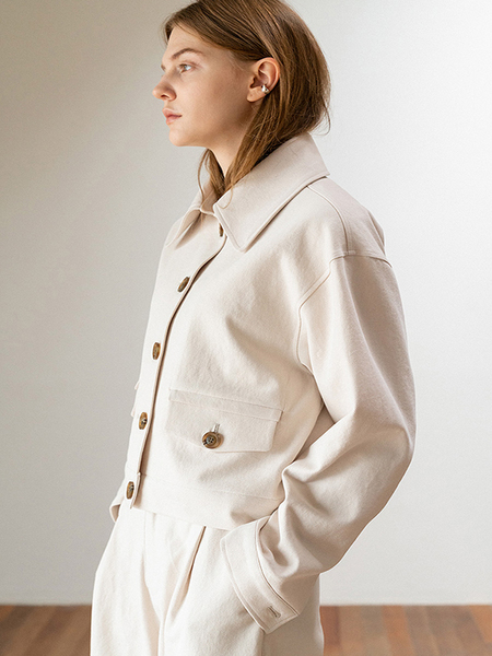 LE Button Short Jacket - Cream