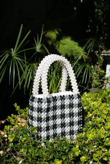 Shrimps Gingham Pearl Handbag