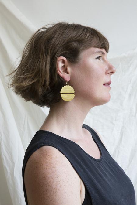 Moon + Arrow Split Circle Earrings - BRASS