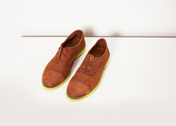 Verba Suede Oxford in Natural/Lime