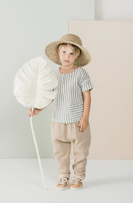 Kids Rylee + Cru Woven Henley Tee - Storm Stripe