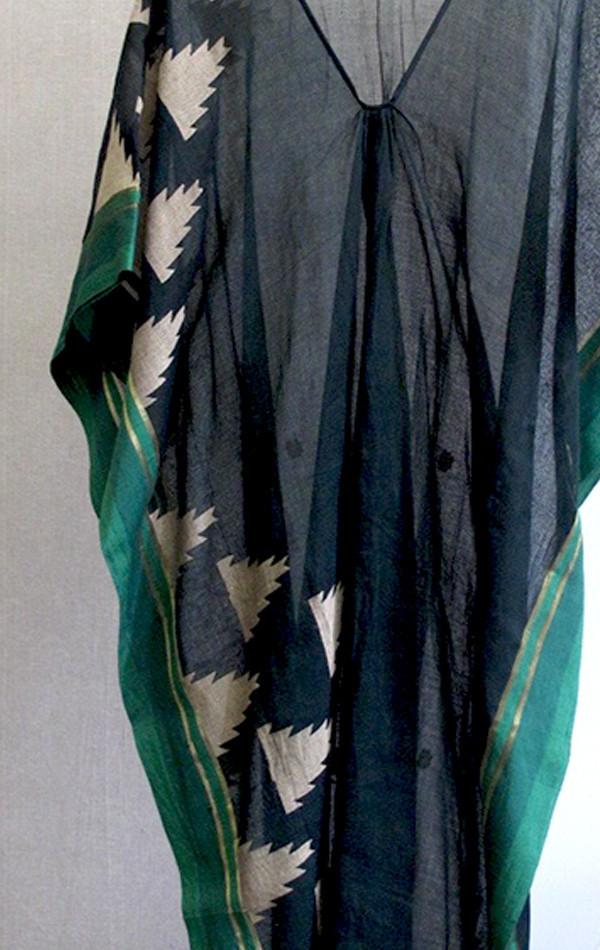 Two Black and green border sari caftan