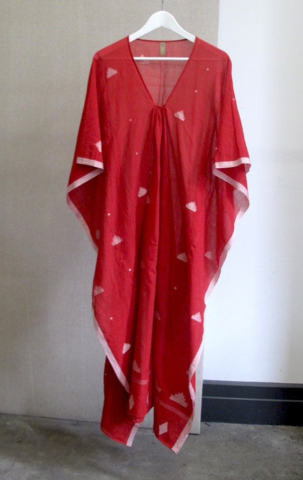 Red with white border sari caftan