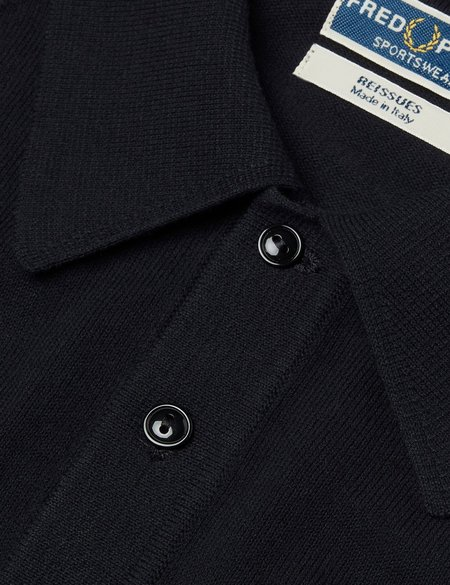 Fred Perry Short Sleeve Raglan Knitted Polo Shirt - Navy Blue