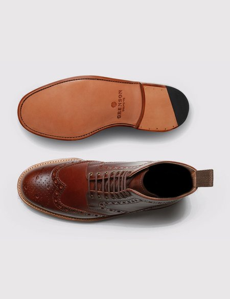 Grenson Fred Brogue Boot - Chestnut Brown