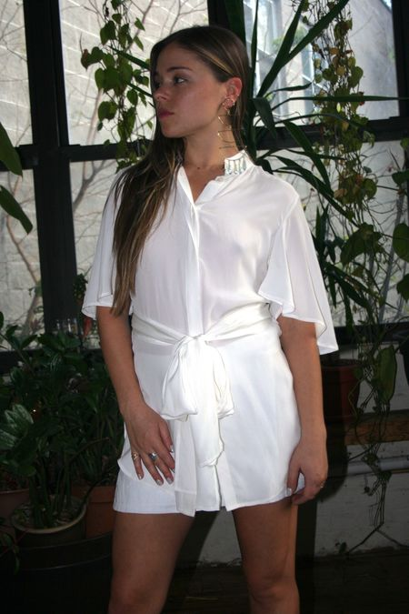 SIR the Label Margeaux Tie Shirt - Ivory