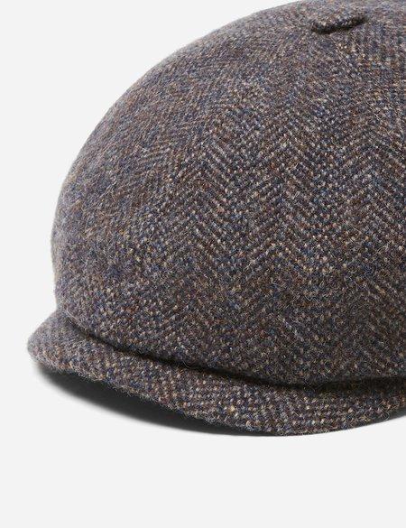 Stetson Hatteras Herringbone Newsboy Cap in Wool Alpaca - Grey/Blue