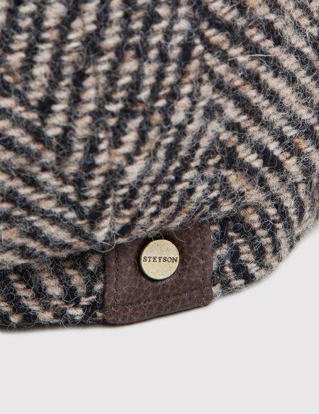 Stetson Hatteras Herringbone Newsboy Cap - Black/Brown