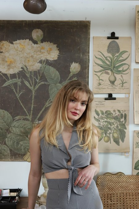 Jovonna Milena Sleeveless Top - Black/White Plaid