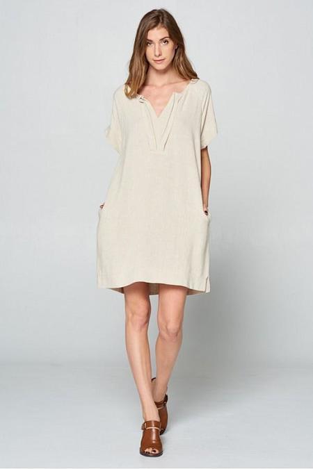 Ellison Perfect Pleat Neck Dress - Oatmeal