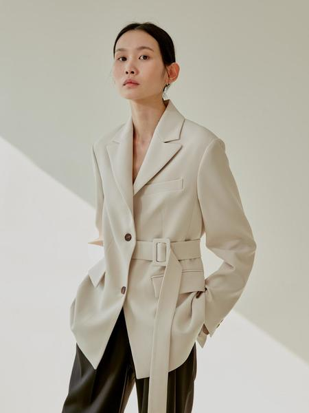 38comeoncommon Belted Single Jacket - Cream