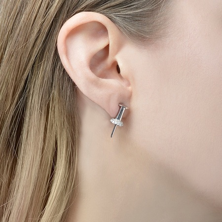 Lauren Klassen Tack W/ Diamonds Earring - White Gold
