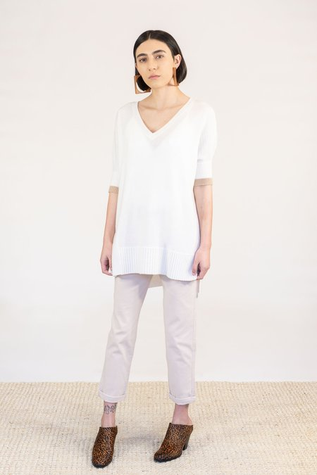 Duffy Cashmere Short Sleeve Sweater - Ivory Sandstorm