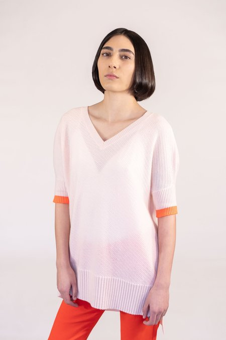 Duffy Cashmere Short Sleeve Sweater - Petal Pink