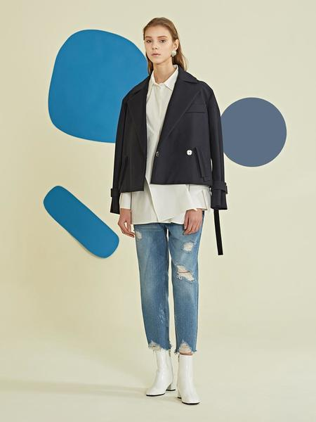 Le Yiel Double Trench Jacket - Navy