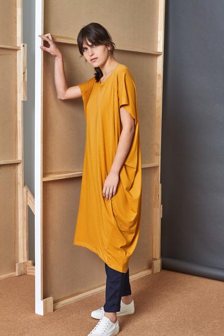 Kowtow Building Block Drape Dress in Amber