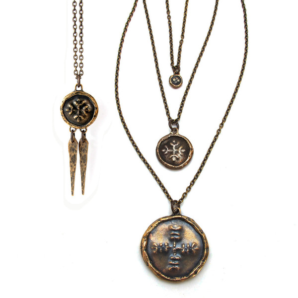 Medium Medallion Necklace with Daggers