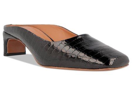 BY FAR Maria Lizard Embossed Leather Mule - Black